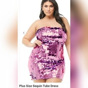 Plus Size Sequin Tube Dress